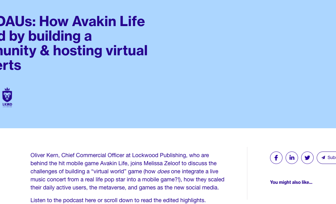 IronSource – LevelUp October 2020 | 1.5M DAUs: How Avakin Life scaled by building a community & hosting virtual concerts